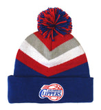 Los Angeles Clippers Beanie Mitchell & Ness V Stripe Cuffed Pom Knit