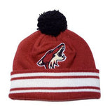 Arizona Coyotes Embroidered Mitchell & Ness Pom Beanie Cap Burgundy