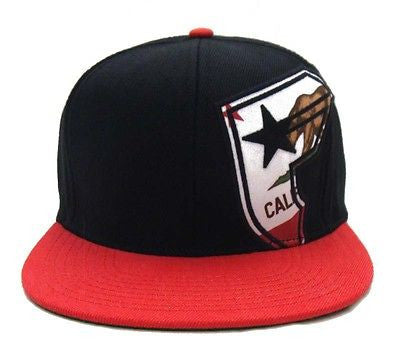 Famous Stars & Straps Snapback Bear Badge Cap Hat Black Red