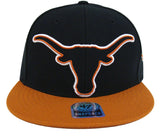 Texas Longhorns Snapback 47 Blackout Retro Cap Hat 2 Tone Black Brown
