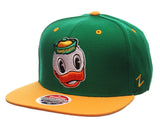 Oregon Ducks Zephyr Z11 Duck Head Snapback Cap Hat Green Yellow