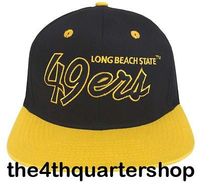 Cal State Long Beach Snapback Script Retro Cap Hat Black Yellow