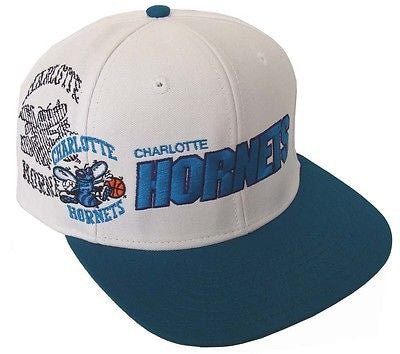 Charlotte Hornets Snapback Retro Shadow Cap Hat White Teal