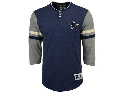 Dallas Cowboys Men's T-Shirt Mitchell & Ness Home Stretch Henley 3/4 Sleeve