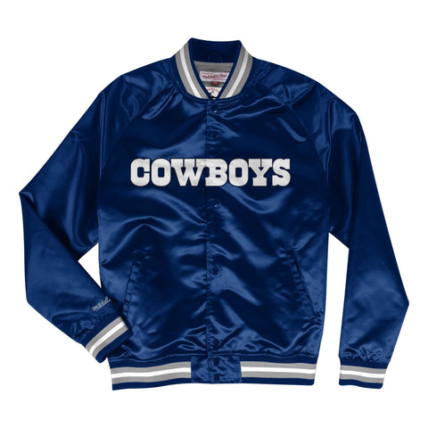 Dallas Cowboys Mens Jacket Mitchell & Ness Light Satin Navy