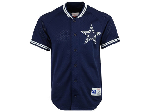 Dallas Cowboys Mens Jersey Mitchell & Ness Seasoned Pro Mesh Button Front