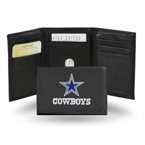 Dallas Cowboys Mens Embroidered Leather Trifold Wallet