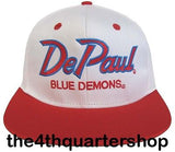 De Paul University Blue Demons Snapback Retro 2 Tone Script Cap Hat White Red