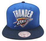 Oklahoma City Thunder Mitchell & Ness Retro Snapback Cap Hat XL Logo Blue Navy