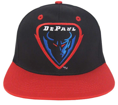De Paul Blue Demons Snapback Logo Retro Cap Hat Black Red