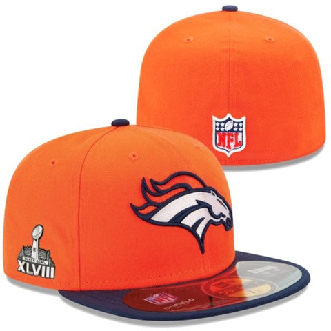 Denver Broncos Fitted New Era Super Bowl XLVIII Cap Hat Orange Navy