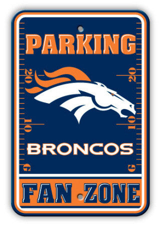"Denver Broncos Plastic 12""x18"" Team Fan Zone Parking Sign"