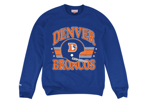 Denver Broncos Men's Mitchell & Ness Helmet Crewneck Sweatshirt