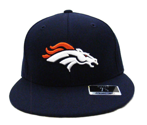 Denver Broncos Fitted Reebok Logo Navy Cap Hat Size 7 1/8