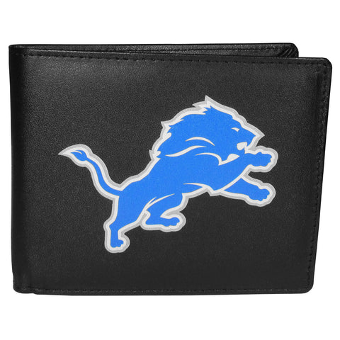 Detroit Lions Mens Embroidered Leather Bi-fold Wallet