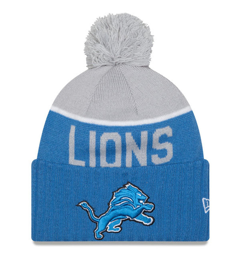 a0e809950a9a43 ... new arrivals detroit lions beanie new era 2015 on field sport knit pom  grey sky blue ...