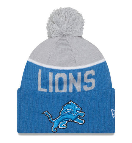 Detroit Lions Beanie New Era 2015 On Field Sport Knit Pom Grey Sky Blue