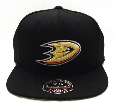 Anaheim Ducks Fitted Mitchell & Ness Logo Cap Hat Black