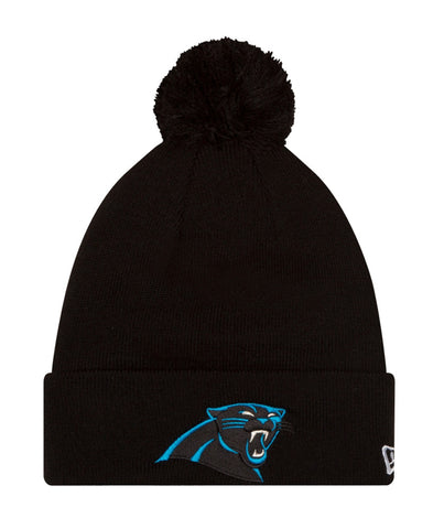 Carolina Panthers Beanie New Era Logo Embroidered Pom Fold Cap Black