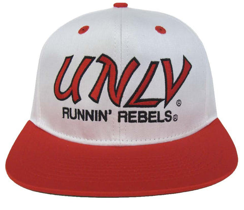 UNLV Runnin Rebels Snapback Retro 2 Tone Script Cap Hat White Red