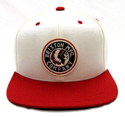 Brixton Supply Snapback Rival Cap Hat Off White Red
