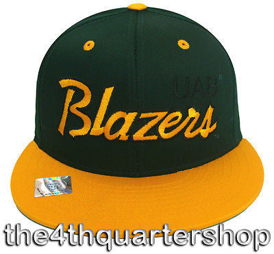 Alabama Birmingham Blazers Snapback Retro Script Cap Hat Green Yellow