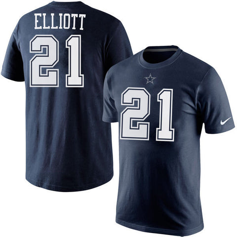 Dallas Cowboys Mens #21 Ezekiel Elliot Nike Navy Game Player T-Shirt