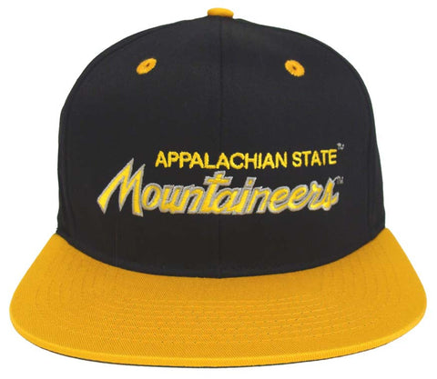 Appalachian State Mountaineers Snapback Script Retro Cap Hat Navy Yellow