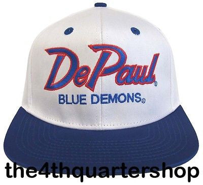 De Paul University Blue Demons Snapback Retro 2 Tone Script Cap Hat White Blue