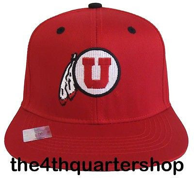 Utah Utes Snapback Logo Retro Cap Hat All Red