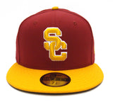 USC Trojans Fitted New Era Skyline Visor Cap Hat Red Yellow