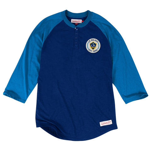 Los Angeles Galaxy Mens Mitchell & Ness Unbeaten Henley Blue Navy