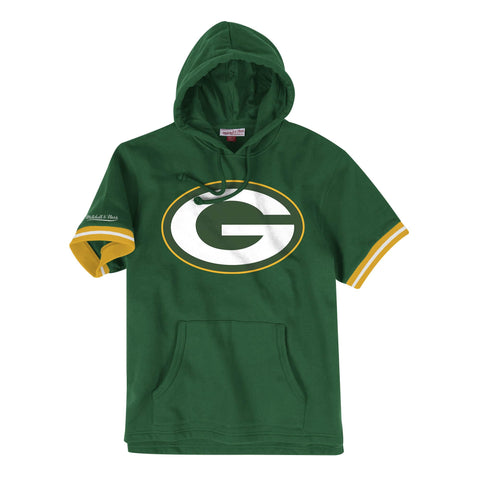 Green Bay Packers Mens Sweatshirt Mitchell & Ness French Terry Hooded Short Sleeve