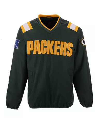 Green Bay Packers Mens Jacket G-III V-Neck Countback Pullover Green
