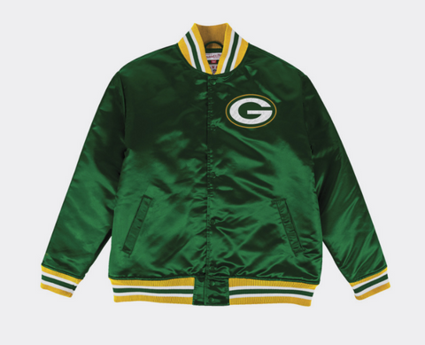 Green Bay Packers Mens Mitchell & Ness Satin Jacket