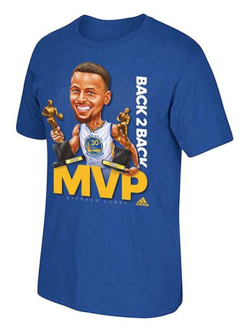 Golden State Warriors Men's Adidas Stephen Curry Back 2 Back Caricature MVP T-Shirt Royal Blue