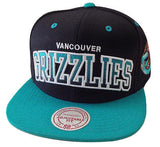Vancouver Grizzlies Snapback Mitchell & Ness COLOR BLOCK Cap Hat Black Teal