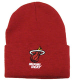 Miami Heat Beanie Embroidered Ski Fold Cap Burgandy