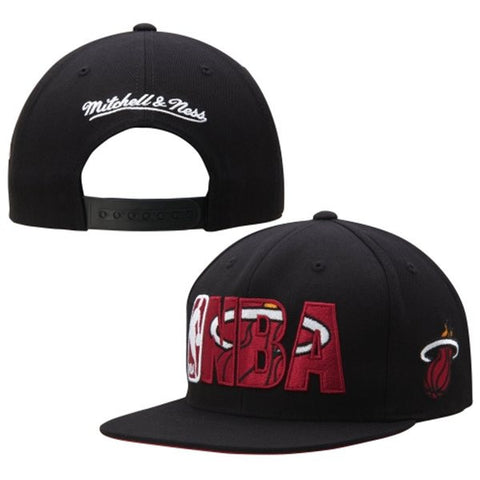 Miami Heat Snapback Mitchell & Ness NBA Insider Cap Hat Black