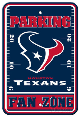 "Houston Texans Plastic 12""x18"" Team Fan Zone Parking Sign"