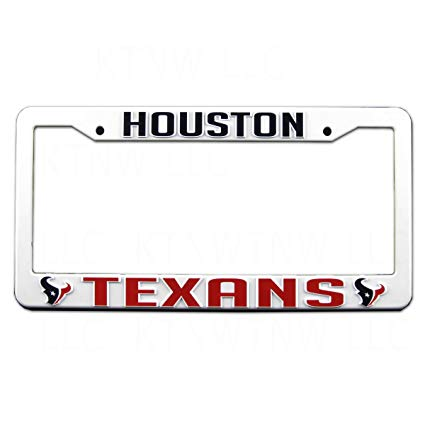 Houston Texans White Plastic License Plate Frame