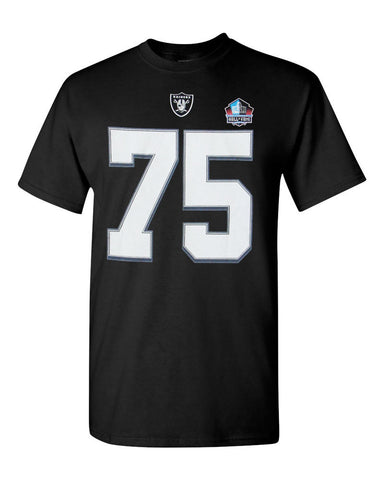 Oakland Raiders Mens T-Shirt # 75 Howie Long Hall of Fame Majestic Black