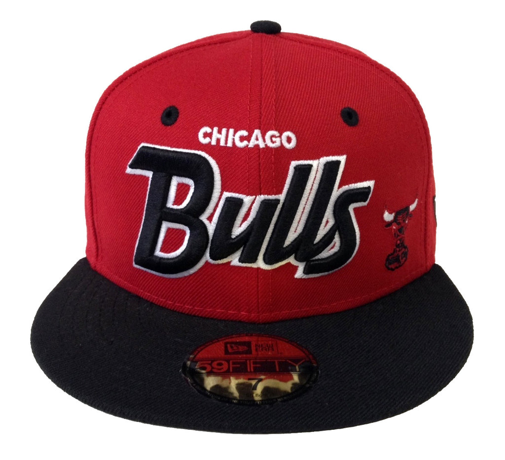 low priced af8e2 d1b40 Chicago Bulls Fitted New Era 59Fifty Script Red Black Cap Hat – THE 4TH  QUARTER