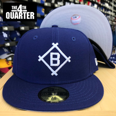 Brooklyn Dodgers Diamond Fitted New Era 59FIFTY Cap Hat Blue. Grey Bottom