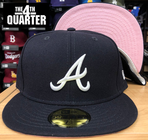 Atlanta Braves New Era 59Fifty Fitted Navy Hat Cap Pink UV