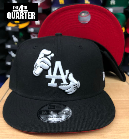 Dodgers Snapback New Era 9FIFTY Mickey Hands Black Hat Cap RED UV