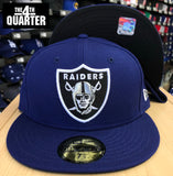 Oakland Raiders Fitted New Era 59FIFTY Black Logo Blue Cap Hat