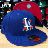 Dodgers Fitted New Era 59Fifty Red Roses Cap Hat RED UV