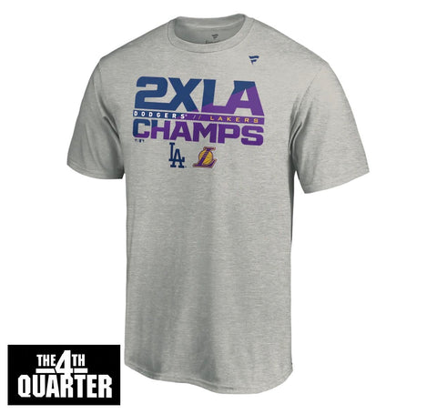 Los Angeles Dodgers Lakers 2020 Dual Champions 2XLA Mens T-Shirt Heather Gray