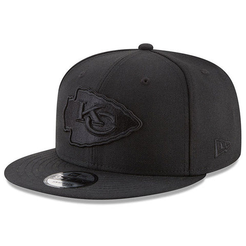 Kansas City Chiefs New Era 9Fifty Black on Black Snapback Cap Hat